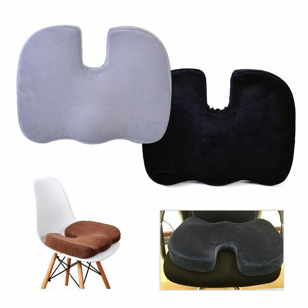 Black Car Seat Chair Cushion Memory Foam Pain Relief Pillow Coccyx Orthopedic