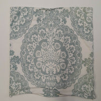 "Pottery Barn 24""x24"" Pillow Case Cotton Linen Country White Cyan Floral Geometry"