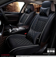 Deluxe Car Seat Cover Cushion 5-Seats Front + Rear PU Leather w/ Pillows Size M