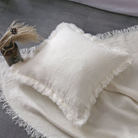 Fringed edge Linen Square Pillowcase 100%French Linen Cushion cover 50*50cm