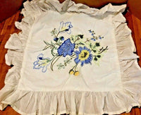"April Cornell embroidered classic florals button 16"" pillow case NWOT Original"