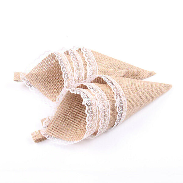 10Pcs Burlap Confetti Pew Cone Chocolate Candy Flower Organizer for Baby Shower