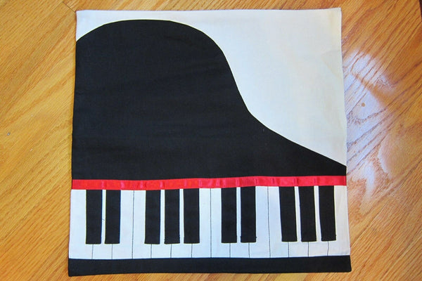 Piano Pillow Case Cover Gifts Piano Keys Music 100% Cotton Accent Music Pillow
