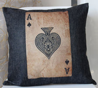 Linen Flax Sofa Bed Square PILLOW CASES CUSHION COVERS 45cm Poker Spades A