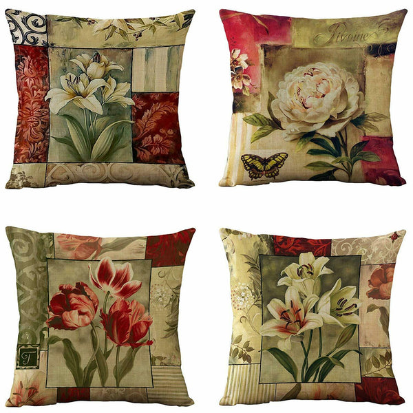 "Pillow Covers Cases Set of 4 18"" x 18"" Cotton Linen Floral Shabby Chic Farmhouse"