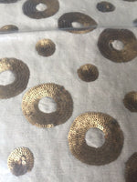 DESCAMPS DECORATIVE SEQUINS LINEN COTTON CUSHION COVER ONLY