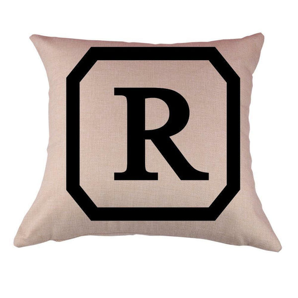 Cotton Linen Throw Pillow Case Cushion Cover Sofa Bed Decor Initial Letter R