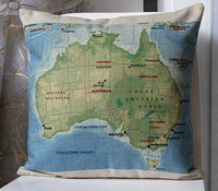 Linen Flax Bed Room Gift PILLOW CASES CUSHION COVERS 45 cm Australia Map