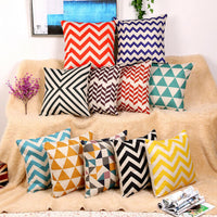 Stripe Geometric Linen Cushion Cover Home Decorative Throw Pillow Case Newest