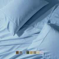 Wrinkle Free 650 TC Solid Cotton Blend Luxury Silky Soft Sateen Bed Sheets Set