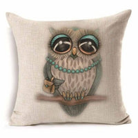 "Pillow Case 18"" Cotton Linen Cushion Cover Colorful Owl Sofa Home Decor"