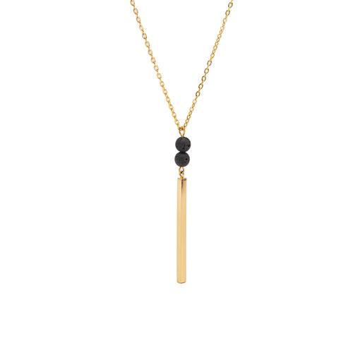 Babe Lava Vertical Bar Necklace - Gold