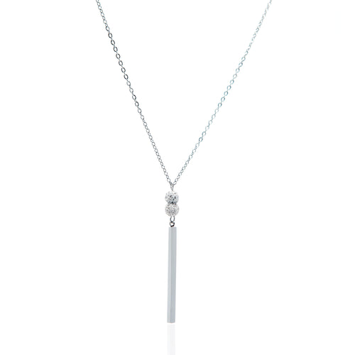 Babe Lava Vertical Bar Necklace - Silver