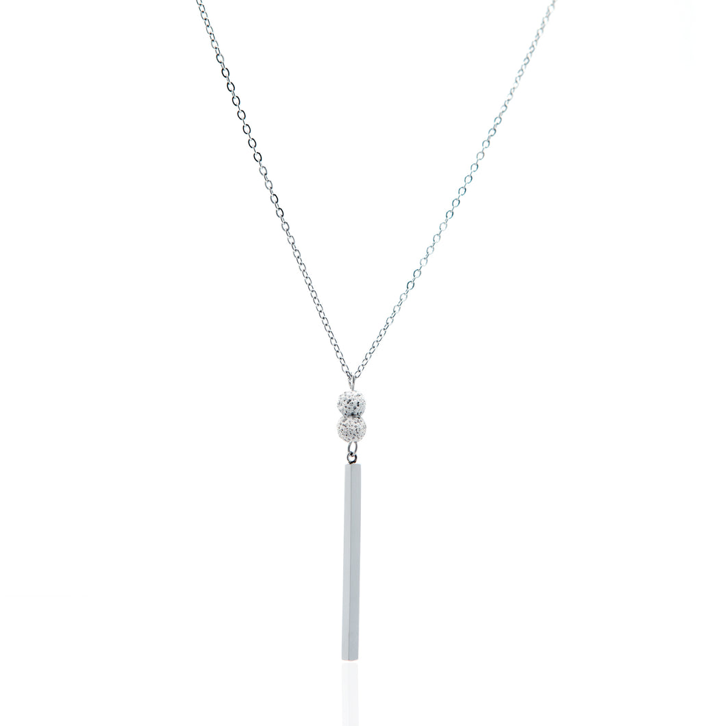 Babe Vertical Bar Essential Oil Necklace - Silver