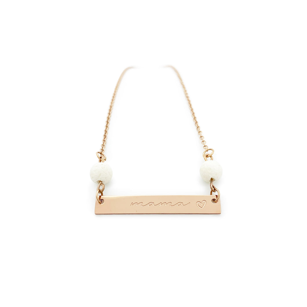 Mama Bar Coral Necklace - Rose Gold