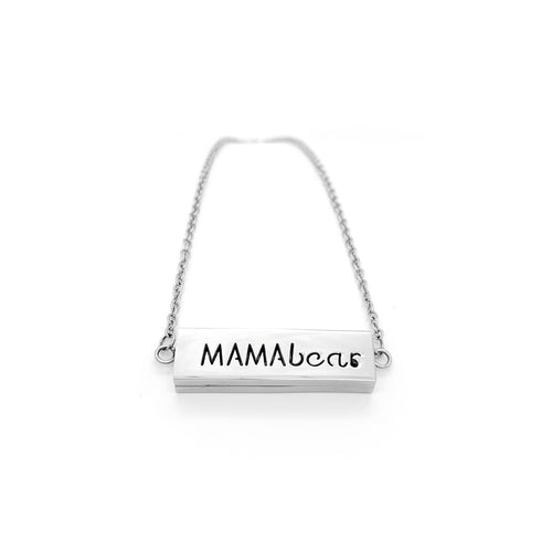 Mamabear Locket Bar Essential Oil Necklace  - Silver