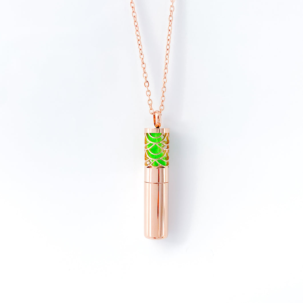 Oil Chamber Essential Oil Necklace - Rose Gold