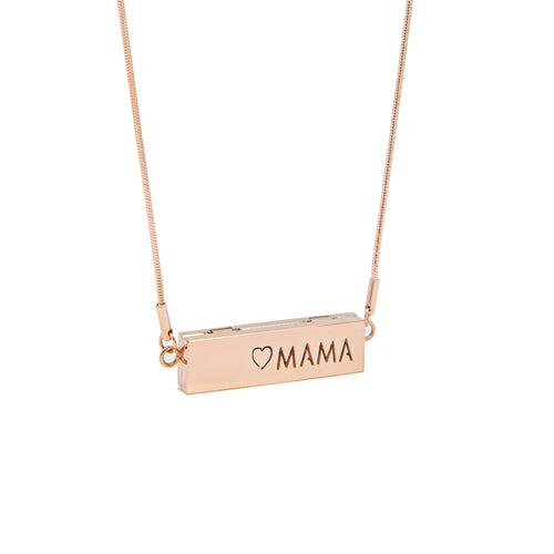 Mama Locket Bar Essential Oil Necklace - Rose Gold