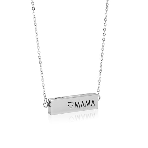 Mama Locket Bar Essential Oil Necklace - Silver