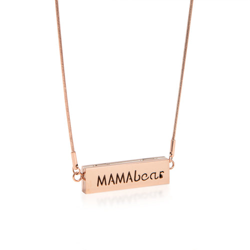 Mamabear Locket Bar Essential Oil Necklace - Rose Gold