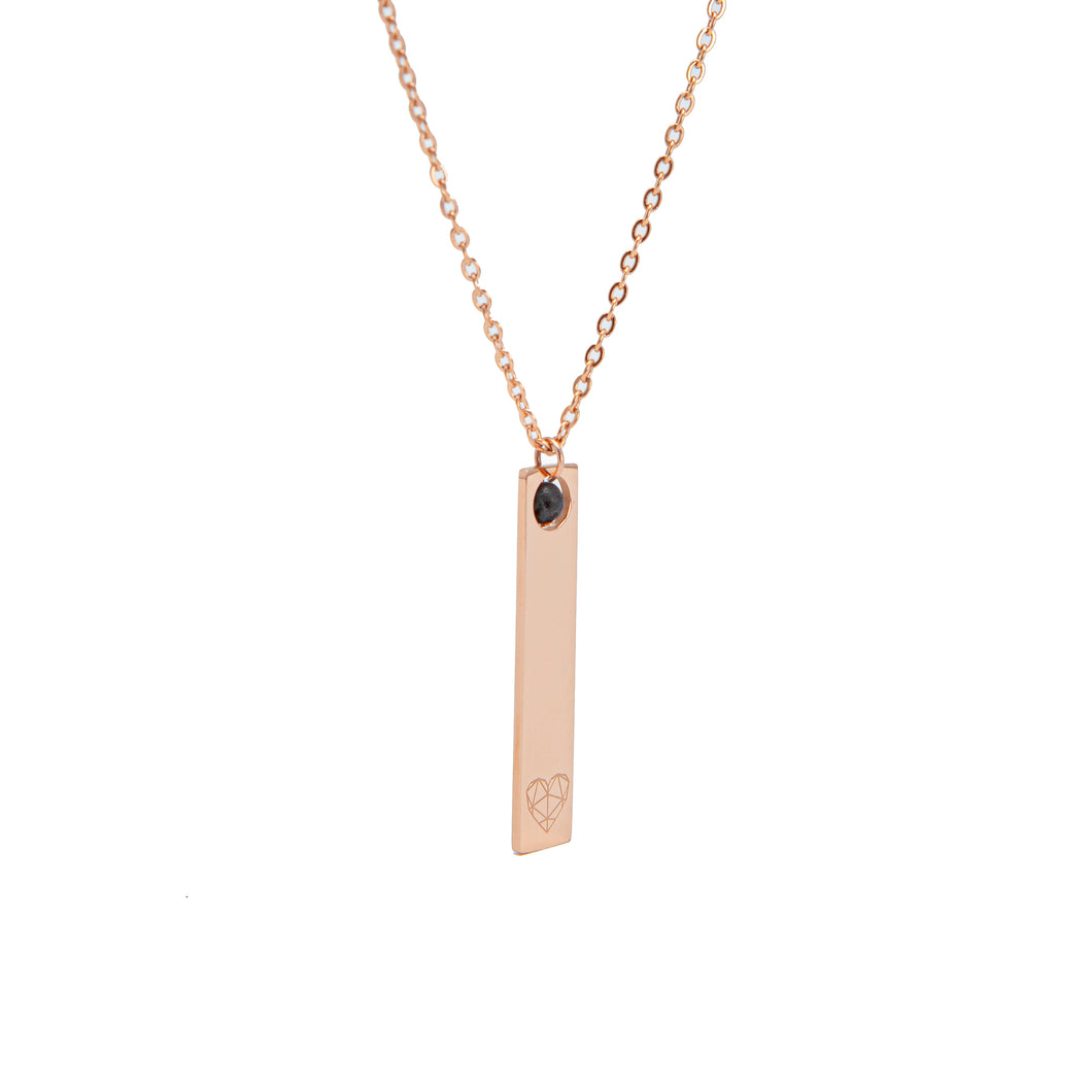 Sweet Heart Lava Essential Oil Necklace - Rose Gold