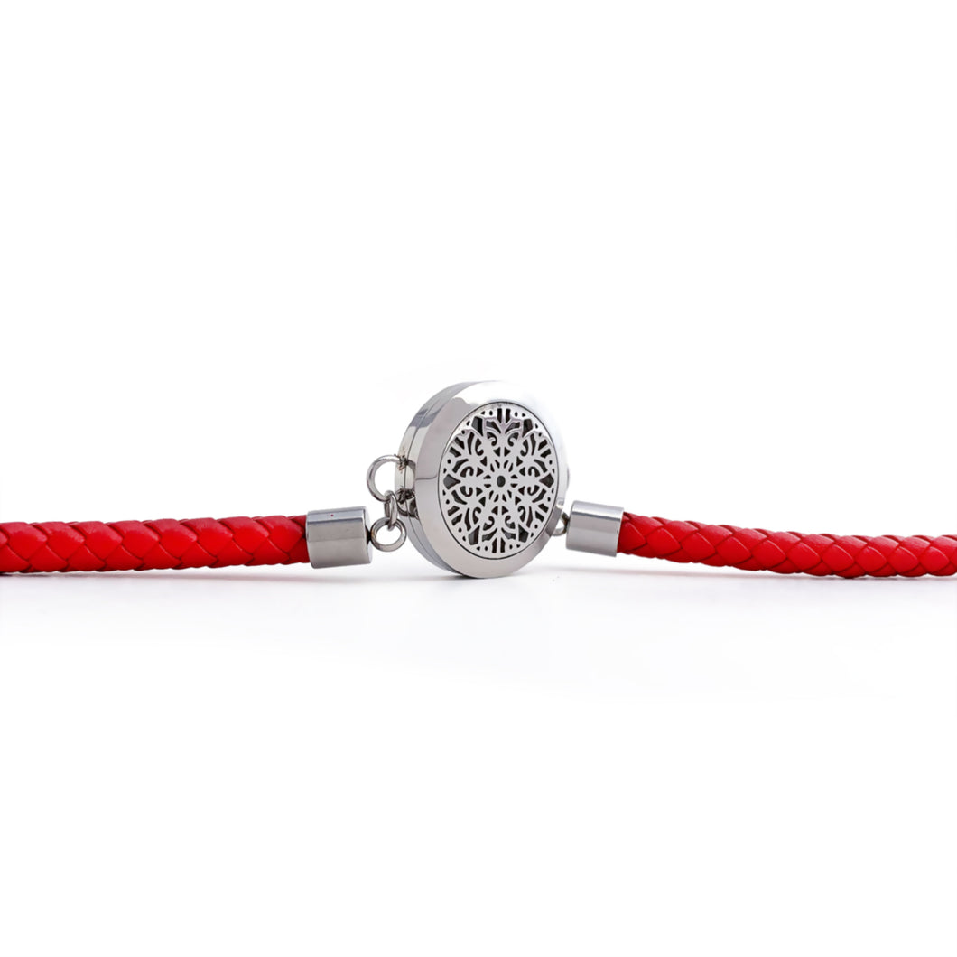 Red Braided Leather Essential Oil Bracelet