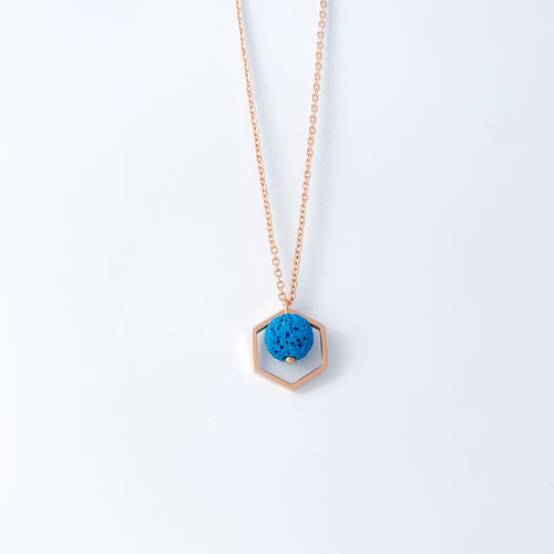 Hexagon Pendant Necklace with Lava Rock - Rose Gold