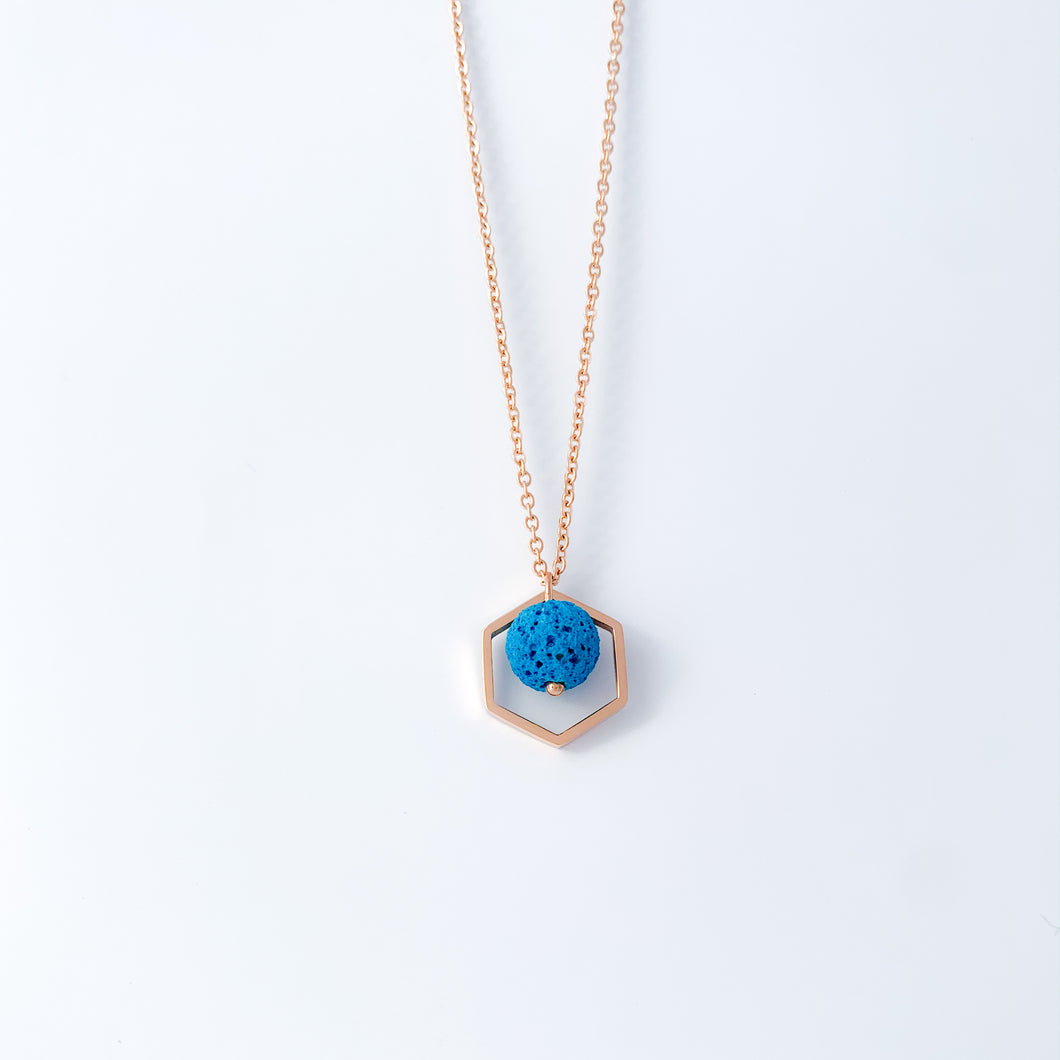 Hexagon Lava Rock Essential Oil Necklace - Rose Gold