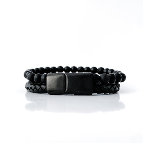 Lava Rock Essential Oil Leather Bracelet - Black