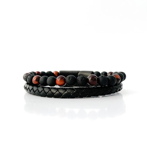 Lava Rock Essential Oil Leather Bracelet - Brown