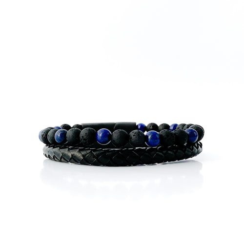 Lava Rock Essential Oil Leather Bracelet - Blue