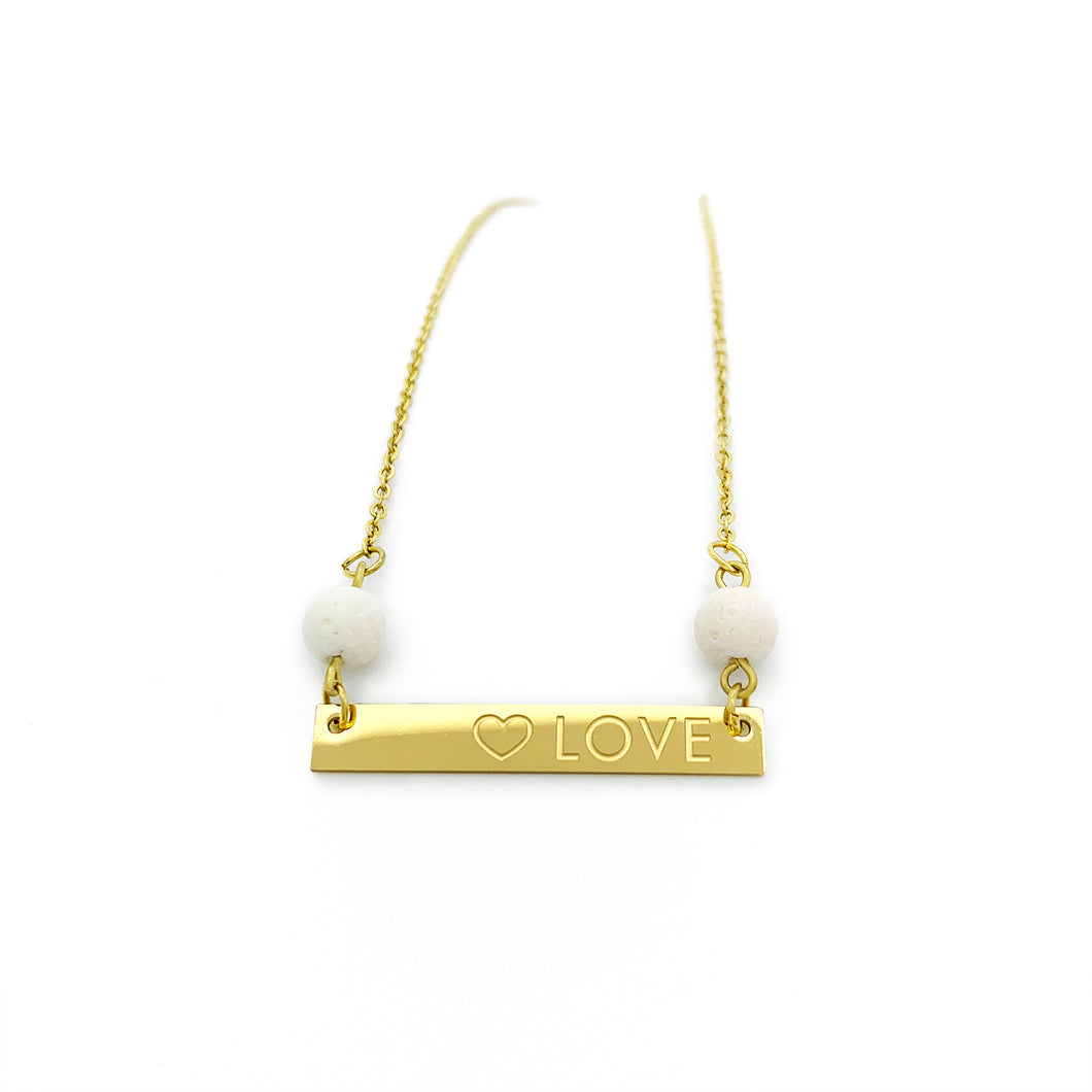 Love Bar Coral Necklace - Gold