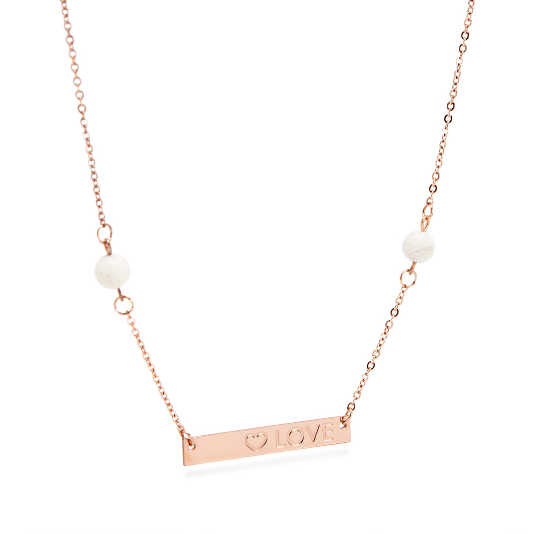 Love Bar Coral Essential Oil Necklace - Rose Gold