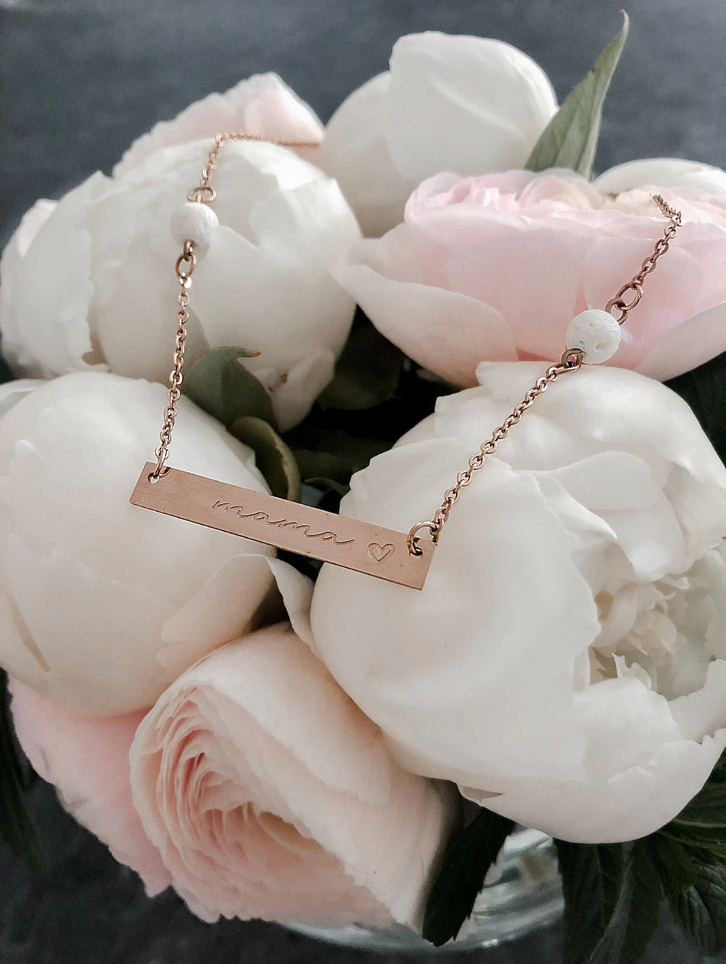 Mama Bar Coral Essential Oil Necklace - Rose Gold