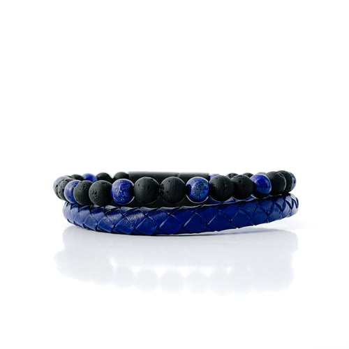 Lava Rock Essential Oil Bracelet - Blue leather