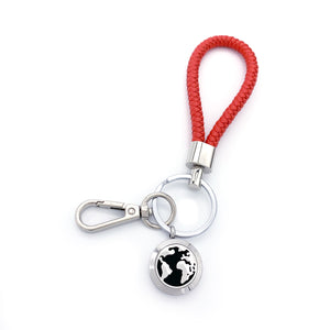 World Map Locket Leather Key Chain