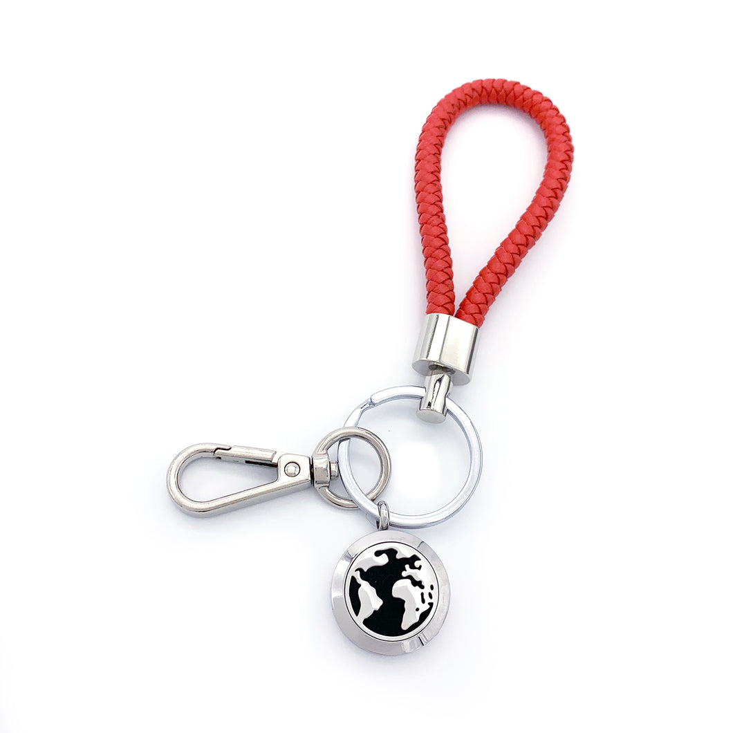 World Map Essential Oil Leather Key Chain