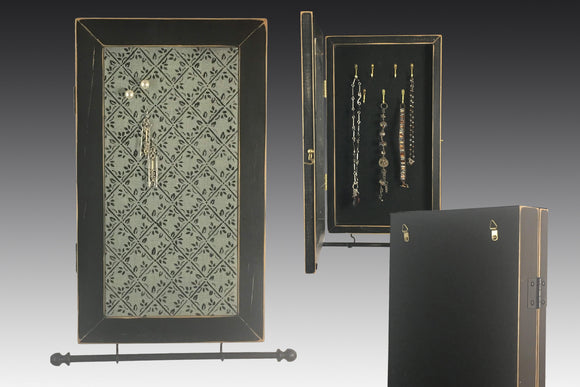 jewelry cabinet showing front, inside and back