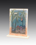 Earring Holder attached to wood base with Beach Houses design