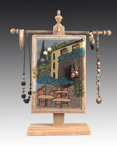 Earring Holder hanging on a jewelry tree & hand painted with  bistro design