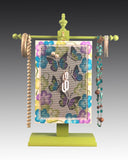 Earring Holder hanging on a jewelry tree & hand painted with Butterflies design
