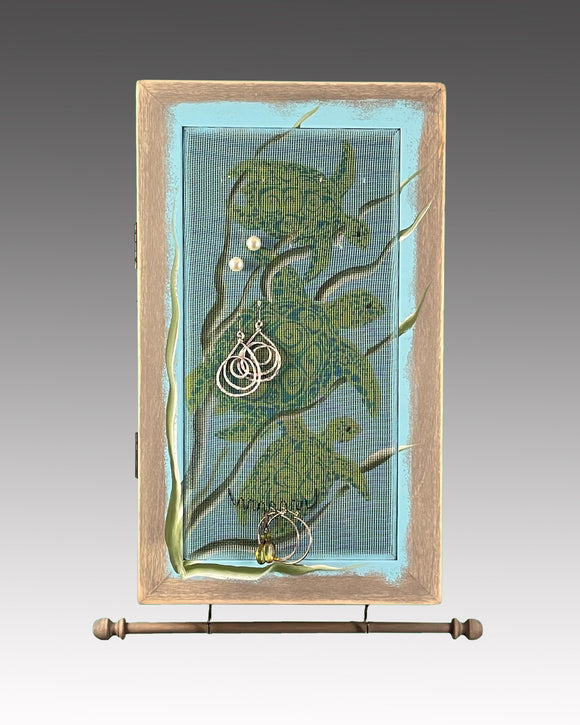 Earring Holder & Jewelry Organizer Cabinet - Sea Turtle Design
