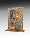 earring holder with cats design attached to a wood base