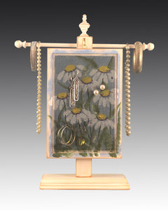 Earring Holder hanging on a jewelry tree & hand painted with Daisies design