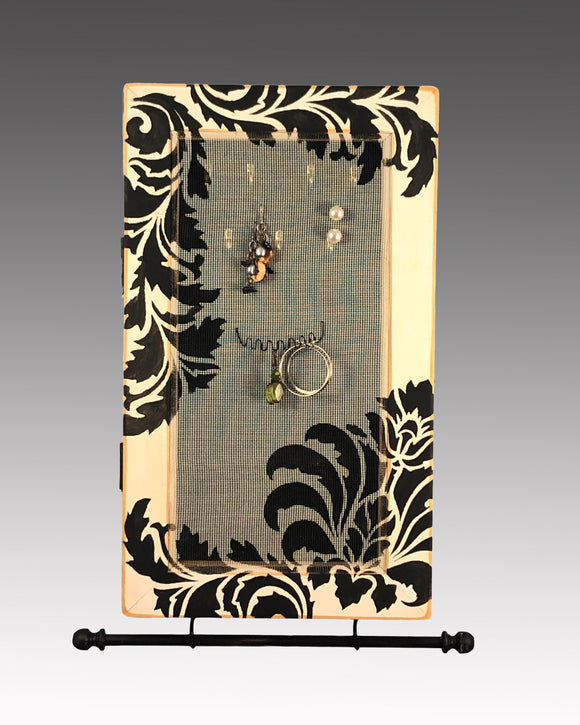 Earring Holder & Jewelry Organizer Cabinet - Damask Design