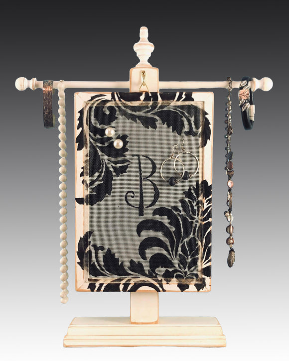 Monogram Earring Holder hanging on a jewelry tree & hand painted with a damask design