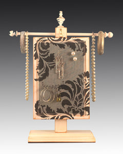 Earring Holder Hanging on Jewelry Tree with Damask design