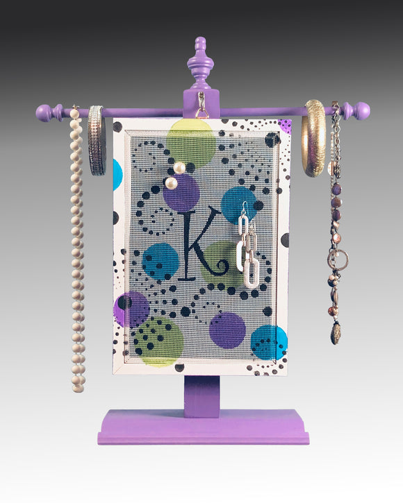 Classic Earring Holder - Monogram - Dippin Dots Design