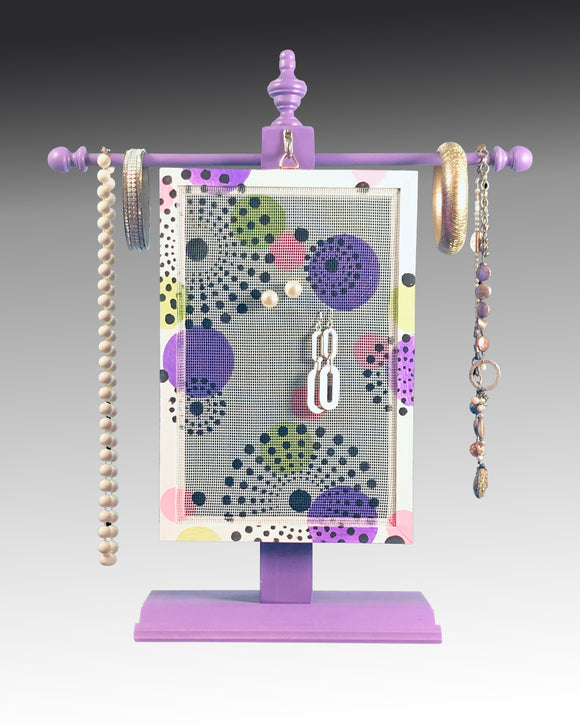 Earring Holder hanging on a jewelry tree & hand painted with dots design