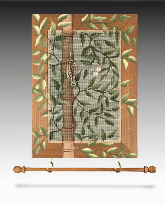 Earring Holder & Jewelry Organizer with Bamboo desgn